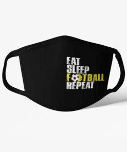 Futbalové rúško Eat Sleep Football Repeat čierne