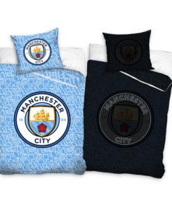 Svietiace obliečky Manchester City perina a vankúš - 140 x 200, 70 x 80
